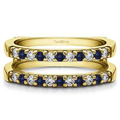 0.51 Ct. Sapphire and Diamond Double Shared Prong Straight Ring Guard in Yellow Gold