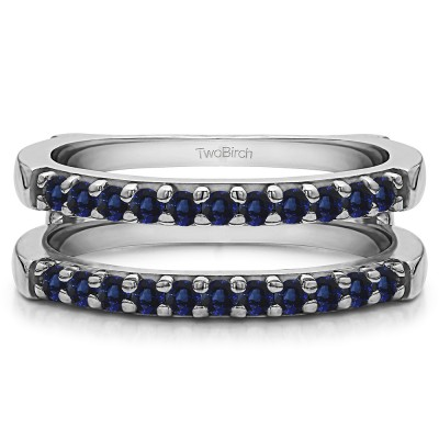 0.51 Ct. Sapphire Double Shared Prong Straight Ring Guard
