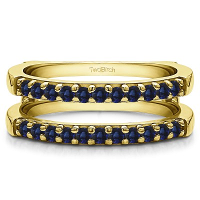 0.51 Ct. Sapphire Double Shared Prong Straight Ring Guard in Yellow Gold