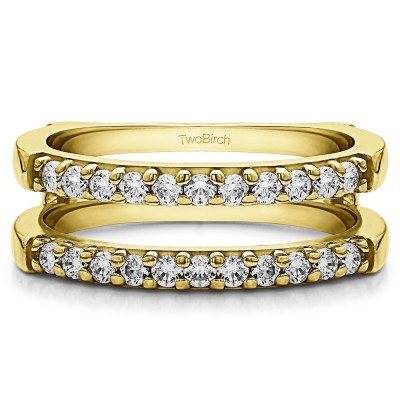 0.51 Ct. Double Shared Prong Straight Ring Guard in Yellow Gold