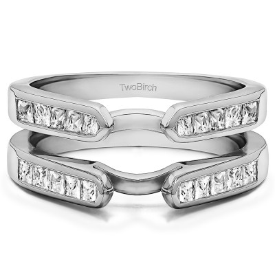 0.75 Ct. Cathedral Channel Set Princess Cut Ring Guard