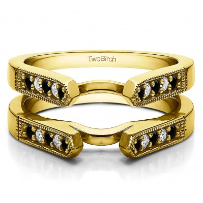 0.4 Ct. Black and White Stone Millgrained Edge Cathedral Ring Guard in Yellow Gold