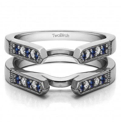 0.4 Ct. Sapphire and Diamond Millgrained Edge Cathedral Ring Guard