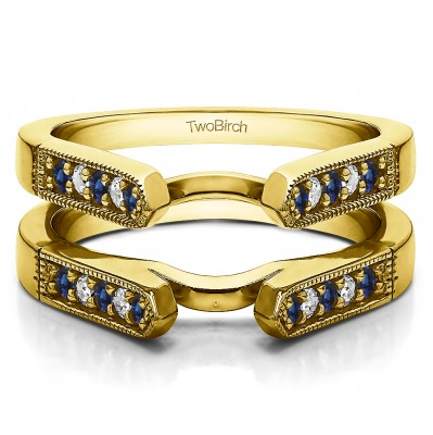 0.4 Ct. Sapphire and Diamond Millgrained Edge Cathedral Ring Guard in Yellow Gold