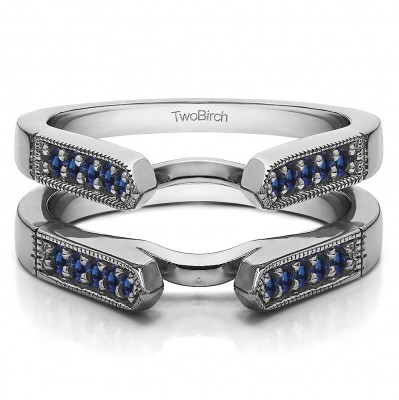 0.4 Ct. Sapphire Millgrained Edge Cathedral Ring Guard
