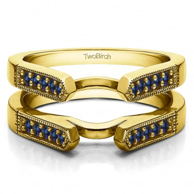 0.4 Ct. Sapphire Millgrained Edge Cathedral Ring Guard in Yellow Gold