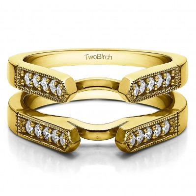 0.4 Ct. Millgrained Edge Cathedral Ring Guard in Yellow Gold
