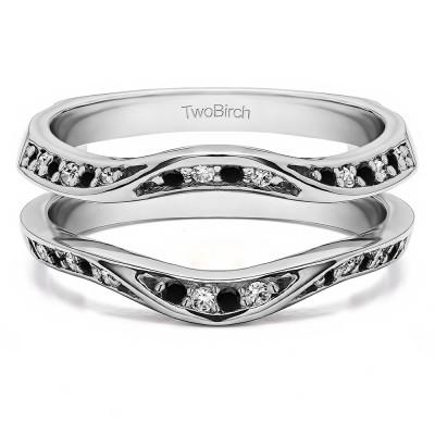 0.44 Ct. Black and White Stone Contour Ring Guard Enhancer Wedding Band