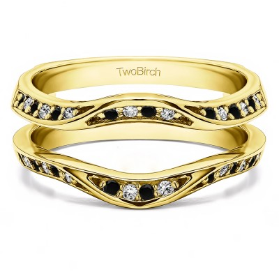 0.44 Ct. Black and White Stone Contour Ring Guard Enhancer Wedding Band in Yellow Gold
