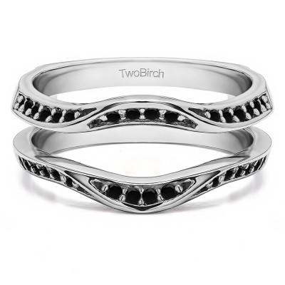 0.44 Ct. Black Stone Contour Ring Guard Enhancer Wedding Band
