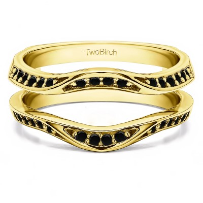 0.44 Ct. Black Stone Contour Ring Guard Enhancer Wedding Band in Yellow Gold
