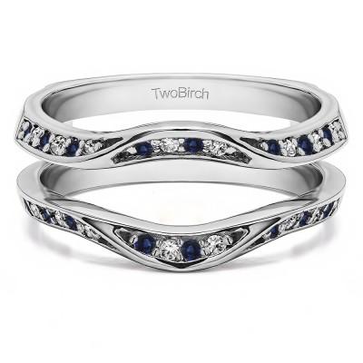 0.44 Ct. Sapphire and Diamond Contour Ring Guard Enhancer Wedding Band