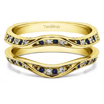 0.44 Ct. Sapphire and Diamond Contour Ring Guard Enhancer Wedding Band in Yellow Gold