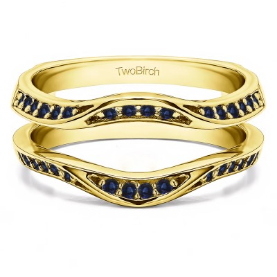 0.44 Ct. Sapphire Contour Ring Guard Enhancer Wedding Band in Yellow Gold