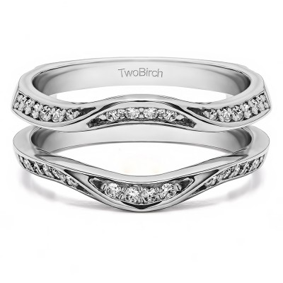 0.44 Ct. Contour Ring Guard Enhancer Wedding Band With Cubic Zirconia Mounted in Sterling Silver (Size 6.75)