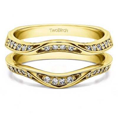 0.44 Ct. Contour Ring Guard Enhancer Wedding Band in Yellow Gold