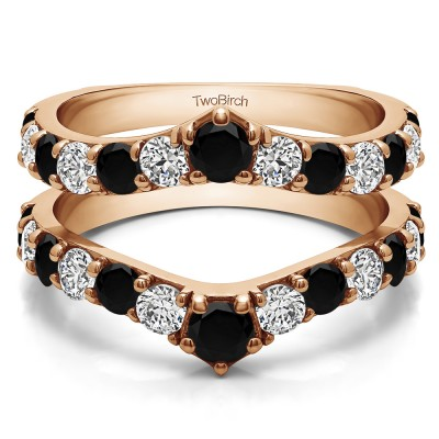 0.74 Ct. Black and White Stone Graduated Shared Prong Contour Ring Guard in Rose Gold