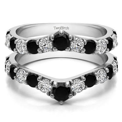 0.74 Ct. Black and White Stone Graduated Shared Prong Contour Ring Guard