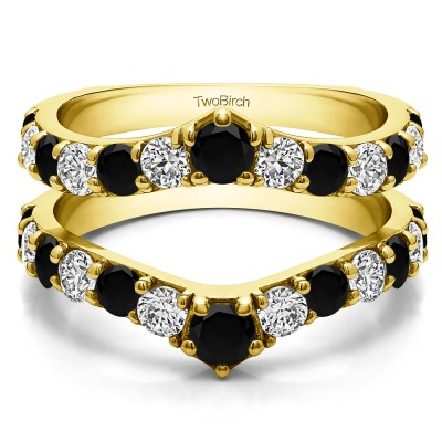 0.74 Ct. Black and White Stone Graduated Shared Prong Contour Ring Guard in Yellow Gold