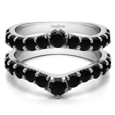 0.74 Ct. Black Stone Graduated Shared Prong Contour Ring Guard