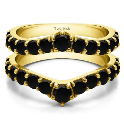 0.74 Ct. Black Stone Graduated Shared Prong Contour Ring Guard in Yellow Gold