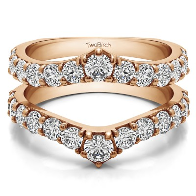 0.35 Ct. Graduated Shared Prong Contour Ring Guard in Rose Gold