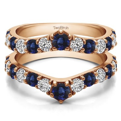 0.74 Ct. Sapphire and Diamond Graduated Shared Prong Contour Ring Guard in Rose Gold