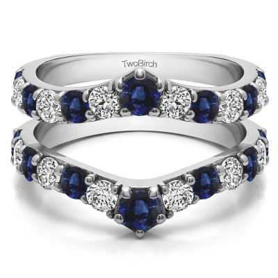 0.74 Ct. Sapphire and Diamond Graduated Shared Prong Contour Ring Guard