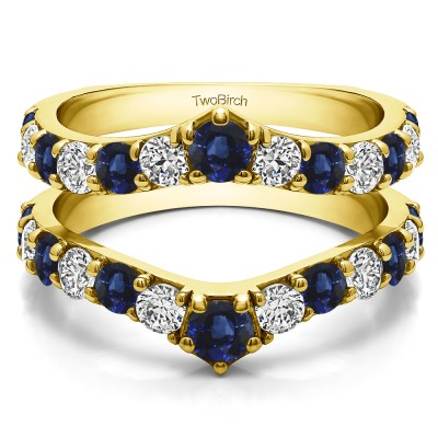 0.74 Ct. Sapphire and Diamond Graduated Shared Prong Contour Ring Guard in Yellow Gold