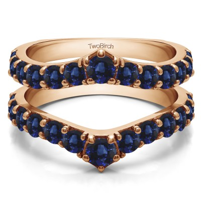 0.74 Ct. Sapphire Graduated Shared Prong Contour Ring Guard in Rose Gold