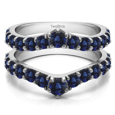 0.74 Ct. Sapphire Graduated Shared Prong Contour Ring Guard
