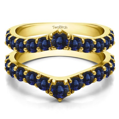 0.74 Ct. Sapphire Graduated Shared Prong Contour Ring Guard in Yellow Gold