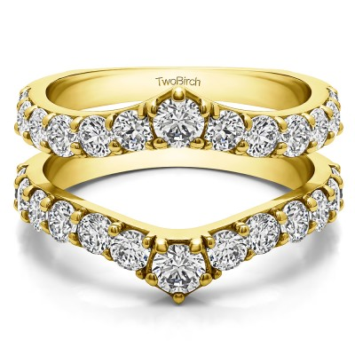 0.74 Ct. Graduated Shared Prong Contour Ring Guard in Yellow Gold