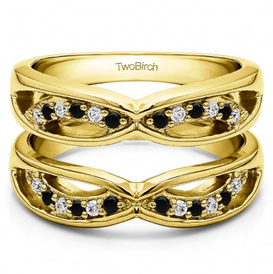 0.24 Ct. Black and White Stone Criss Cross Anniversary Jacket Ring Guard  in Yellow Gold