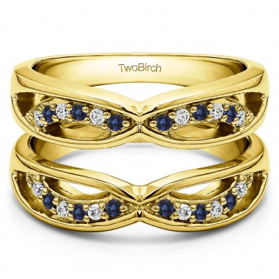 0.24 Ct. Sapphire and Diamond Criss Cross Anniversary Jacket Ring Guard  in Yellow Gold