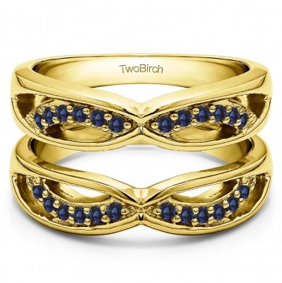0.24 Ct. Sapphire Criss Cross Anniversary Jacket Ring Guard  in Yellow Gold