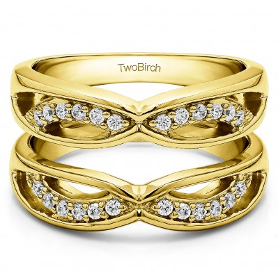 0.24 Ct. Criss Cross Anniversary Jacket Ring Guard  in Yellow Gold