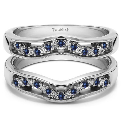 0.26 Ct. Sapphire and Diamond Prong in Channel Curved Ring Guard Enhancer