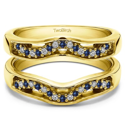 0.26 Ct. Sapphire and Diamond Prong in Channel Curved Ring Guard Enhancer  in Yellow Gold