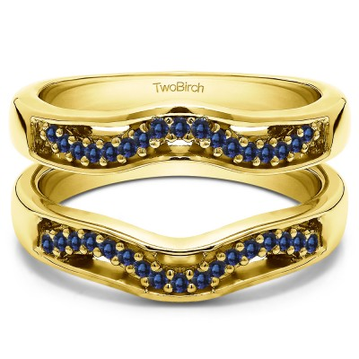0.26 Ct. Sapphire Prong in Channel Curved Ring Guard Enhancer  in Yellow Gold