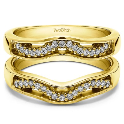 0.26 Ct. Prong in Channel Curved Ring Guard Enhancer  in Yellow Gold