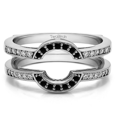 0.38 Ct. Black and White Stone Round Halo Wedding Ring Guard
