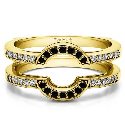 0.38 Ct. Black and White Stone Round Halo Wedding Ring Guard in Yellow Gold