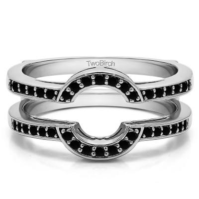 0.38 Ct. Black Stone Round Halo Wedding Ring Guard