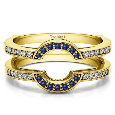 0.38 Ct. Sapphire and Diamond Round Halo Wedding Ring Guard in Yellow Gold