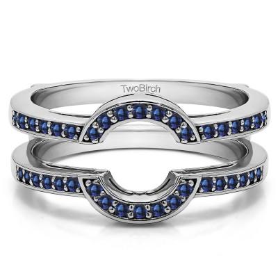 0.38 Ct. Sapphire Round Halo Wedding Ring Guard