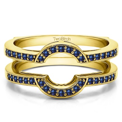 0.38 Ct. Sapphire Round Halo Wedding Ring Guard in Yellow Gold
