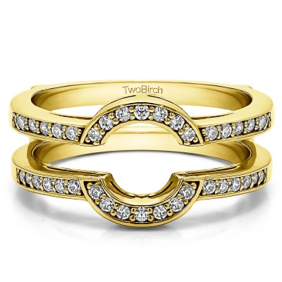 0.38 Ct. Round Halo Wedding Ring Guard in Yellow Gold
