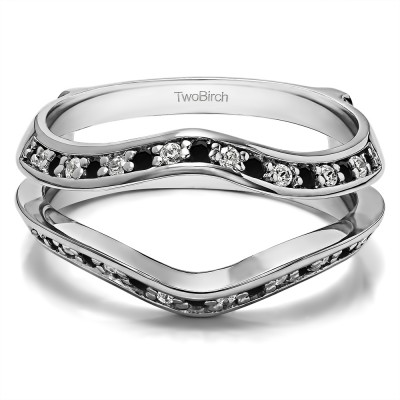 0.34 Ct. Black and White Stone Open Knife Edge Wedding ring guard