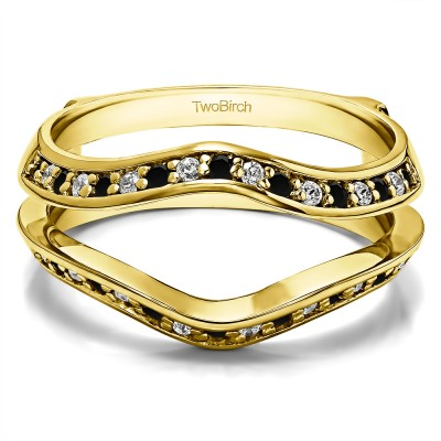 0.34 Ct. Black and White Stone Open Knife Edge Wedding ring guard in Yellow Gold
